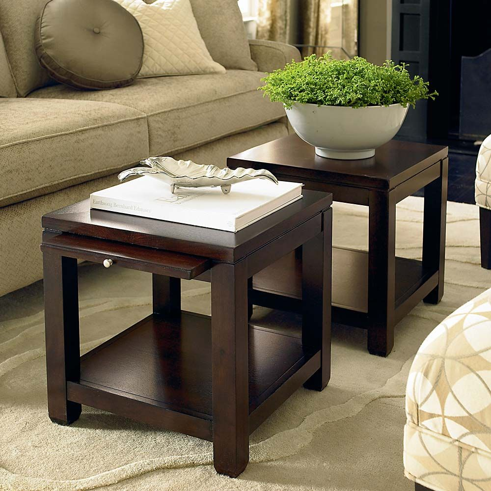 REALLY cool idea Two small tables instead of one coffee table