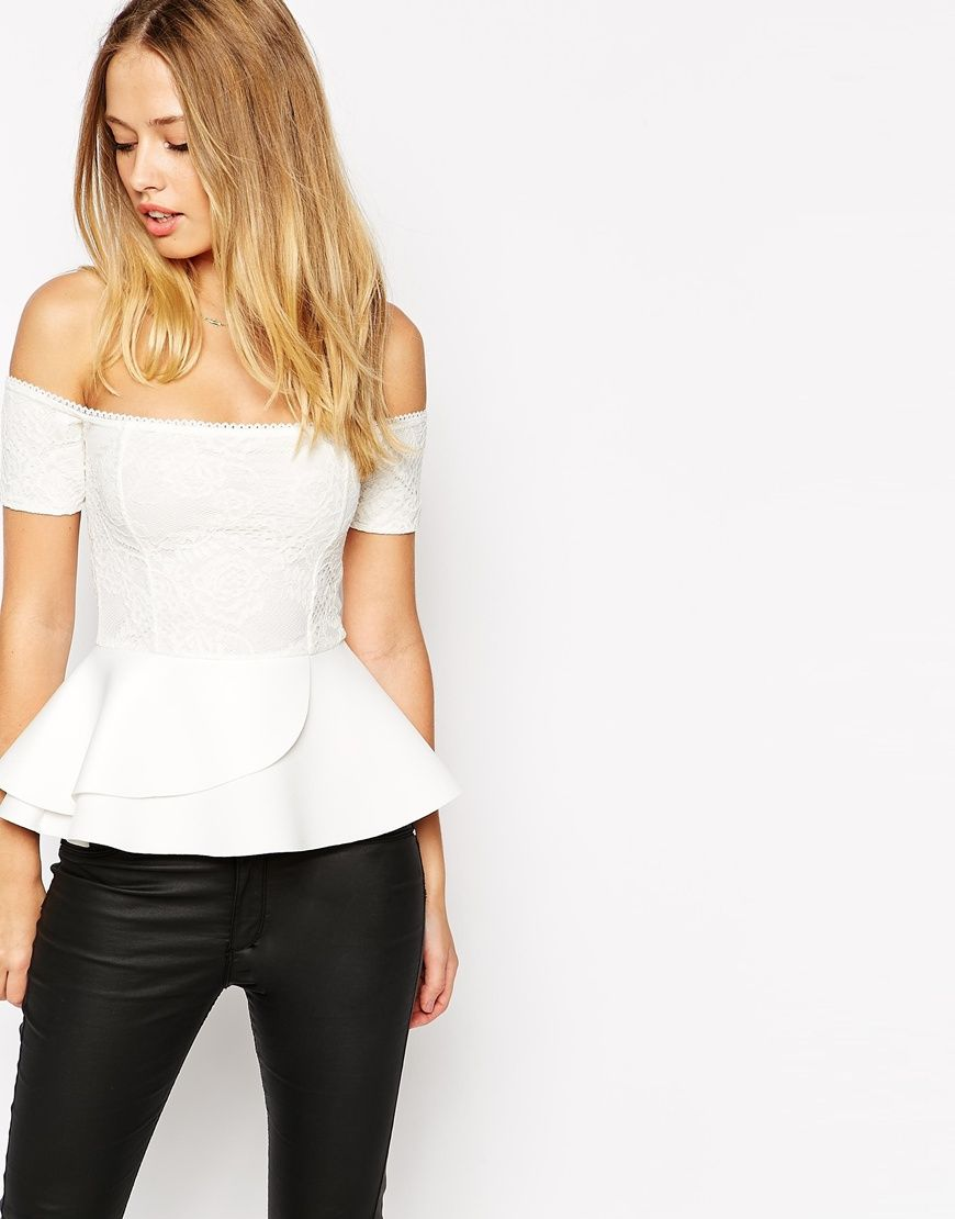 2ba132da50d74 Image 1 of ASOS Peplum Top With Bardot Off Shoulder In Bonded Lace ...