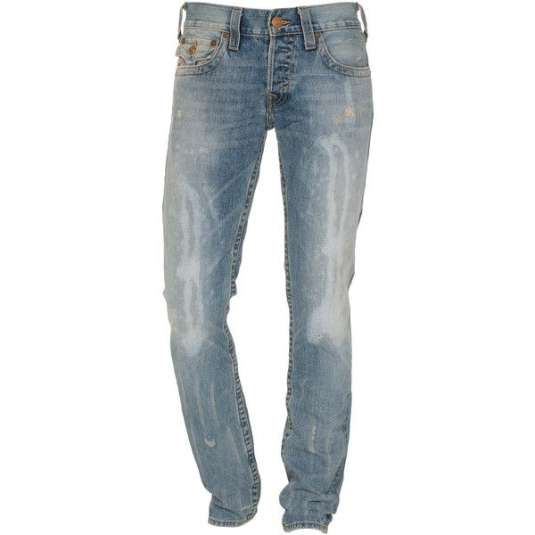 True Religion Zach Mule Skin Slim Fit Jeans In Used Look ($510) ❤ liked on Polyvore