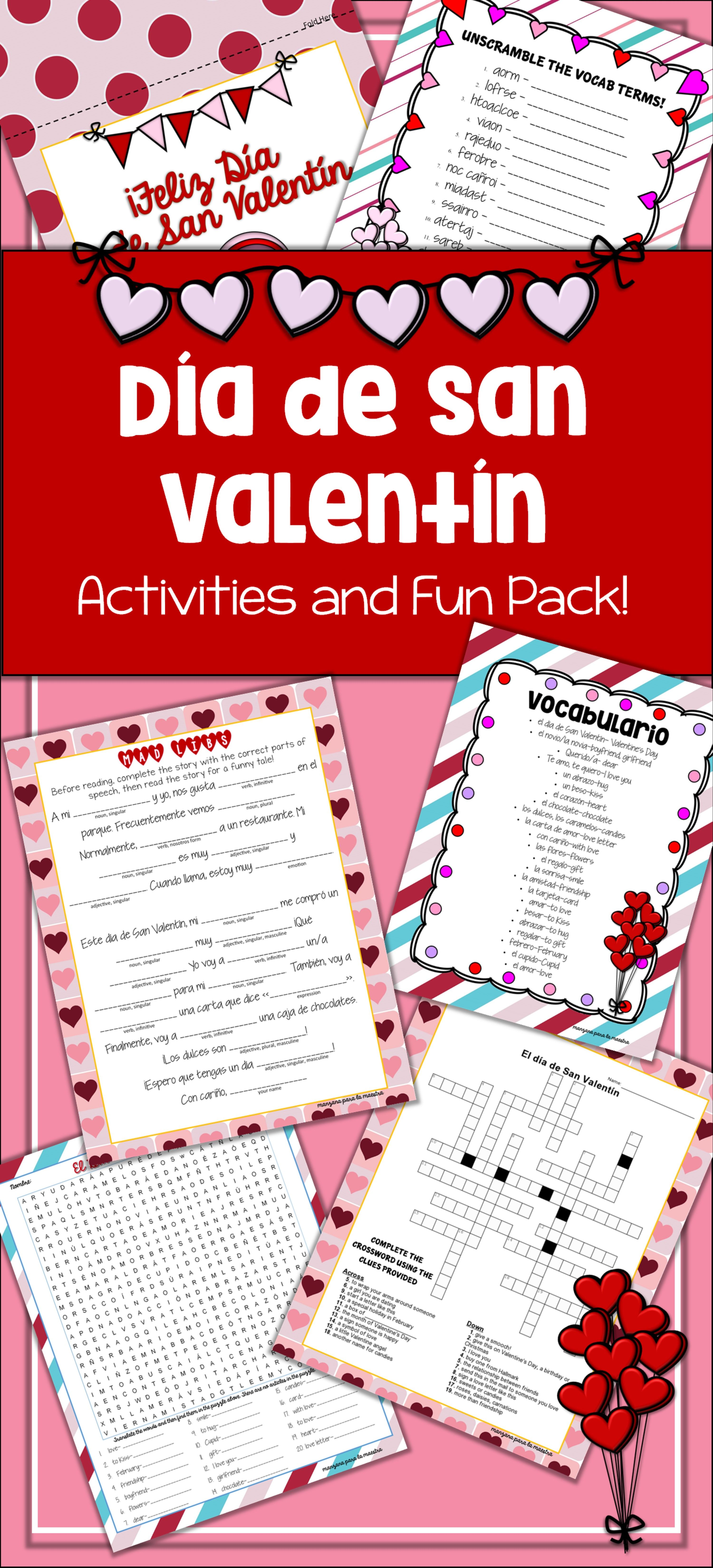 Fun Spanish Valentine S Day Lesson Plan And Activities Good For All Levels This Set Includes Vocab List Word Search Spanish Activities Valentines Lesson [ 6600 x 3000 Pixel ]