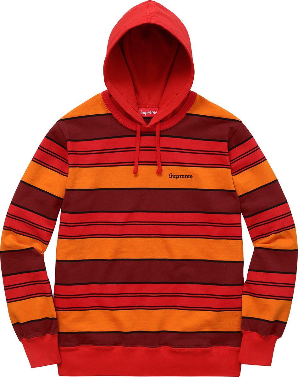 Supreme Striped Hooded Crewneck Custom Clothes Sweater Hoodie Hooded Sweatshirts [ 1200 x 948 Pixel ]