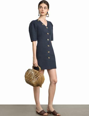 d8ce0e9abf703 Beige ecru big button mini dress with balloon sleeves   frum chic ...