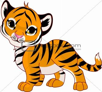 cartoon baby animals | Image 3282598: Walking baby tiger