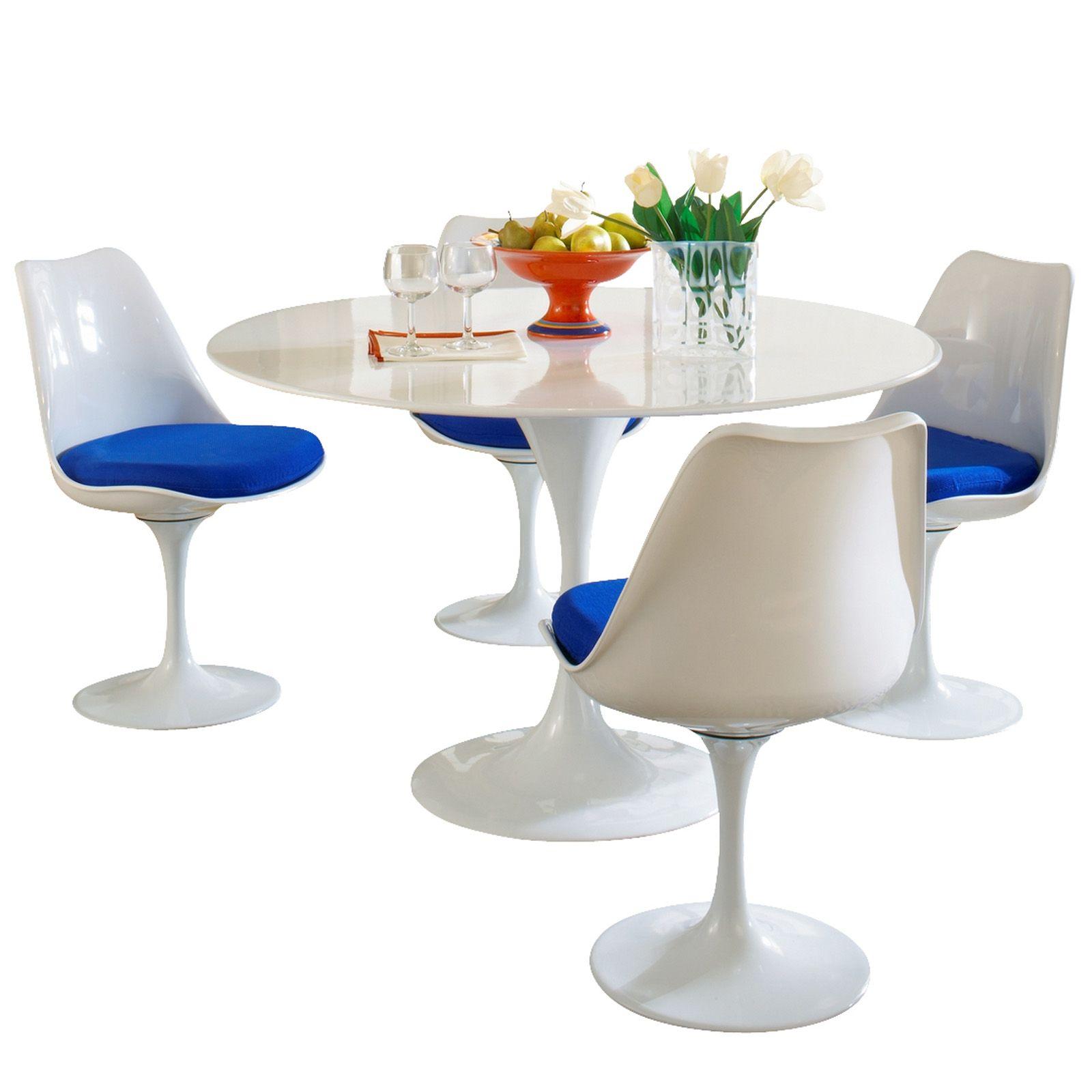 Modway Eero Saarinen Blue Cushion Dining Set (Eero Saarinen Style