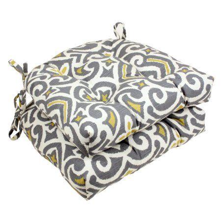 Amazon.com   Pillow Perfect Yellow Damask Reversible Chair Pad,  Gray/Greenish,
