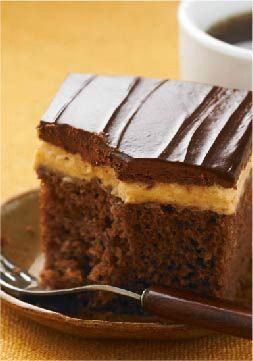 Chocolate-Peanut Butter Cake -- How can you go wrong: Chocolate, peanut butter and cream cheese make up the topping to this moist cake recipe. Classic dessert combos don't get much better than this.