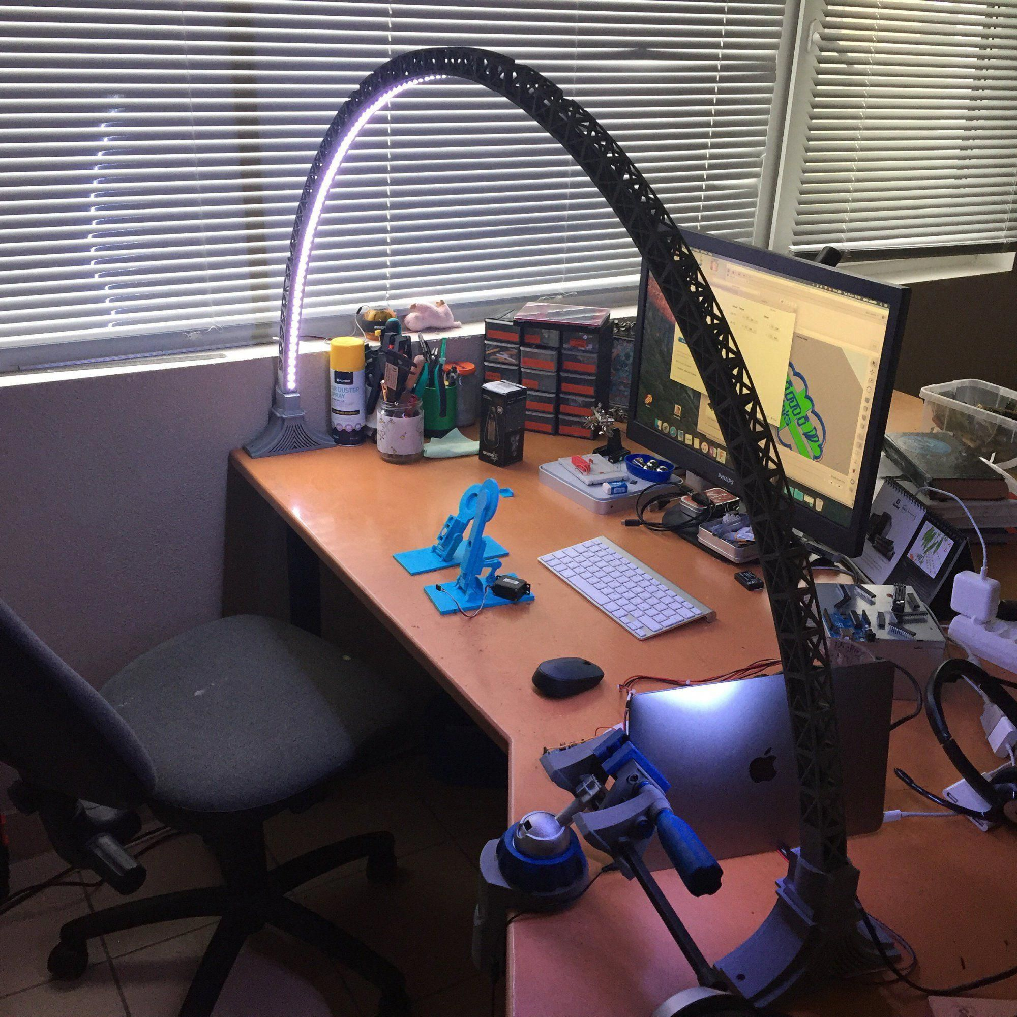 This Architecturally Inspired Led Lighting Is 3d Printable And Arches Over Your Desk For Perfect Illumination 3d Printing Diy 3d Printing Business 3d Printing
