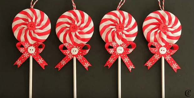 fabric yo yo lollipop ornaments are so easy quilting digest - Lollipop Christmas Decorations