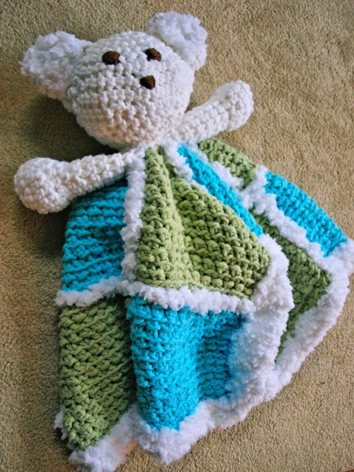 Crocheted Bear Blanket Project Linus Donation Shes Crafty