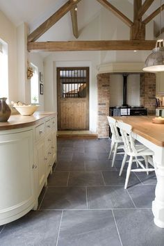 blueish grey slate tiles   use throughout entire first floor and then super amazing fluffy white rugs   u003c u003c i agreed up to the white rugs part super fluffy     fab tiles exposed beams and that door   thedailybasics      rh   pinterest co uk