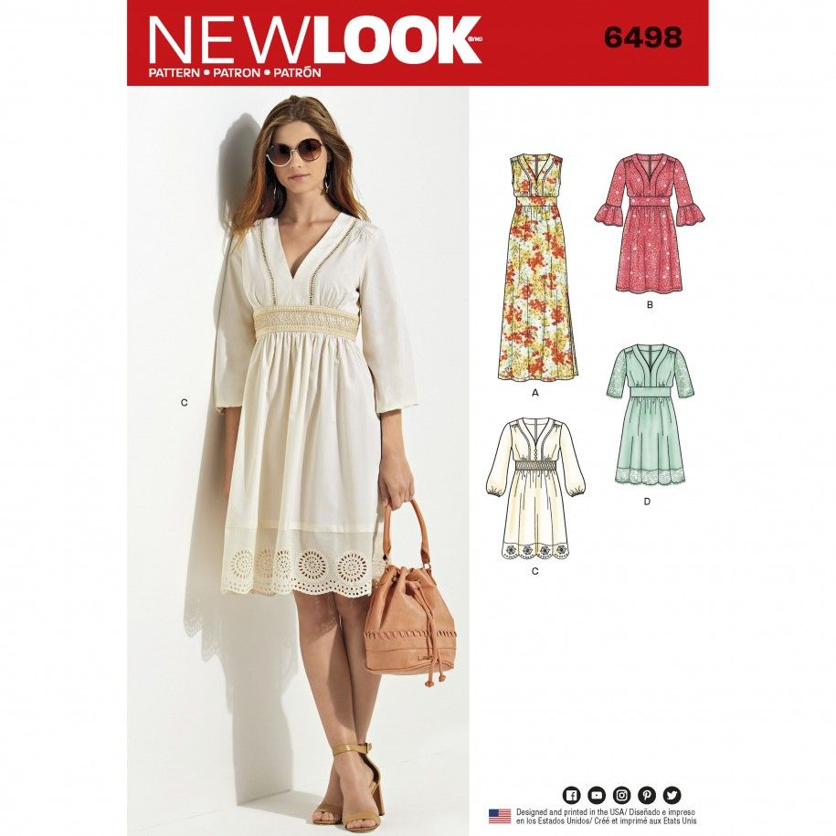 New Look Pattern 6498 Misses Dresses in Two Lengths with Bodice ...