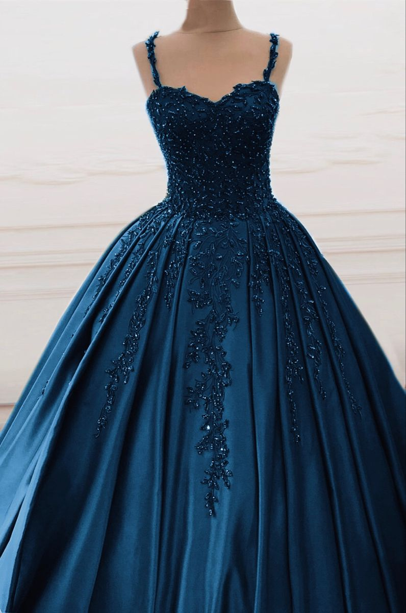 Navy Blue Ball Gown Quinceanera Dresses Swetheart beaded for sweet 16
