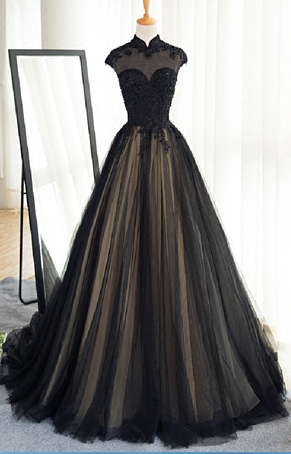 1b67370b6a42 Long Black Tulle Prom Dress,High Neck Banquet Dress,Lace Appliques Beads Prom  Gowns,Custom Made Women Formal Party Dress,Court Train Evening Gowns
