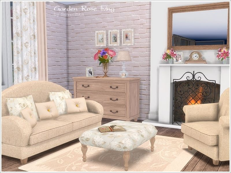 A set of furniture and decoration for the living room in ...