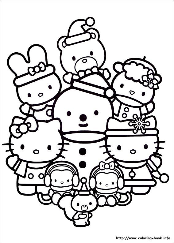 Christmas Friends Coloring Picture Hello Kitty Coloring Kitty