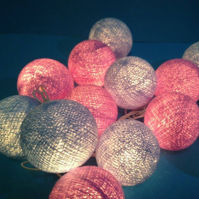 Cotton Ball Patio Party String Lights
