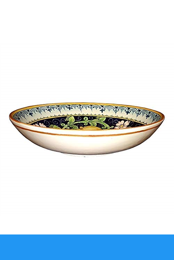 CERAMICHE DARTE PARRINI Pasta Hand Painted Made in ITALY Tuscan Italian Ceramic Art Pottery Bowl For Fruit,Salad