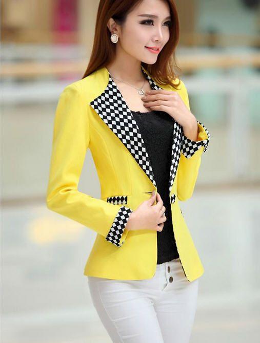 Nueva moda 2016 mujer marca Blazers primavera tela escocesa del remiendo  delgado de un solo botón chaqueta manga larga chaqueta de traje XXXL A499 b9e3aeea622d