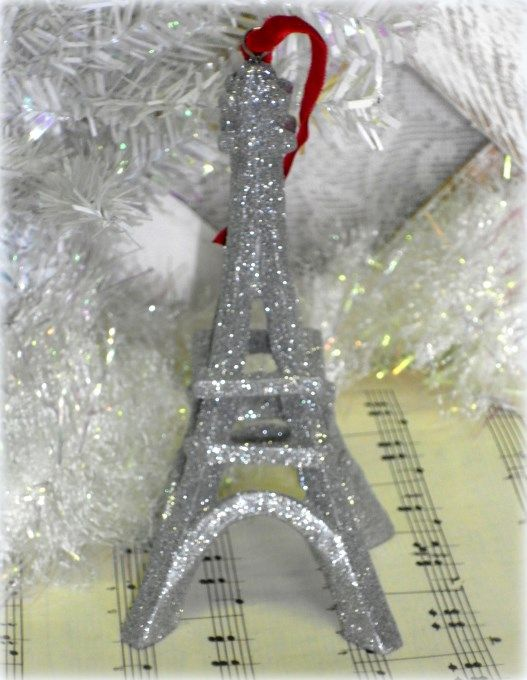 French Country Glittered Eiffel Tower Christmas Tree Ornament