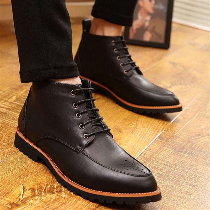 92b434a88b6 2015 nuevo otoño Toe Pionted corto zapatos hombres botines con cordones de Martin  botas Top del alto de cuero genuino botas de vestir de negocios para ...
