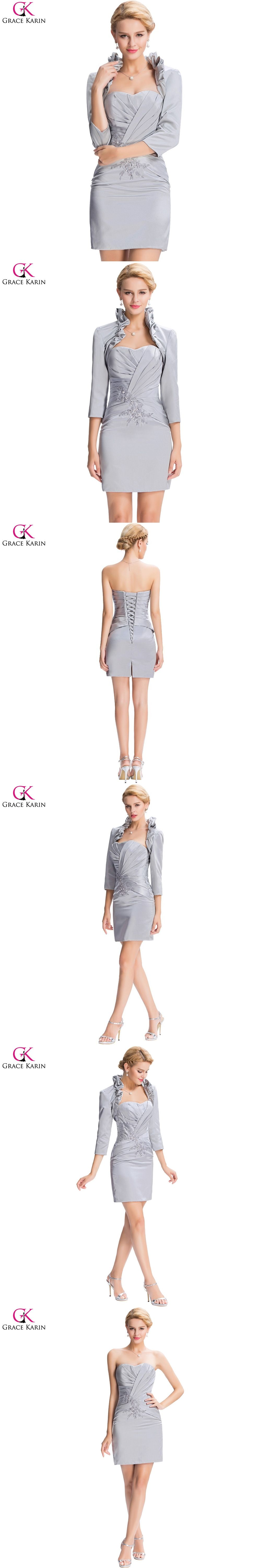 Grace Karin Grey Short Evening Dresses 2017 New Satin Sleeve Mother of the Bride  Dress With d084e9df4069