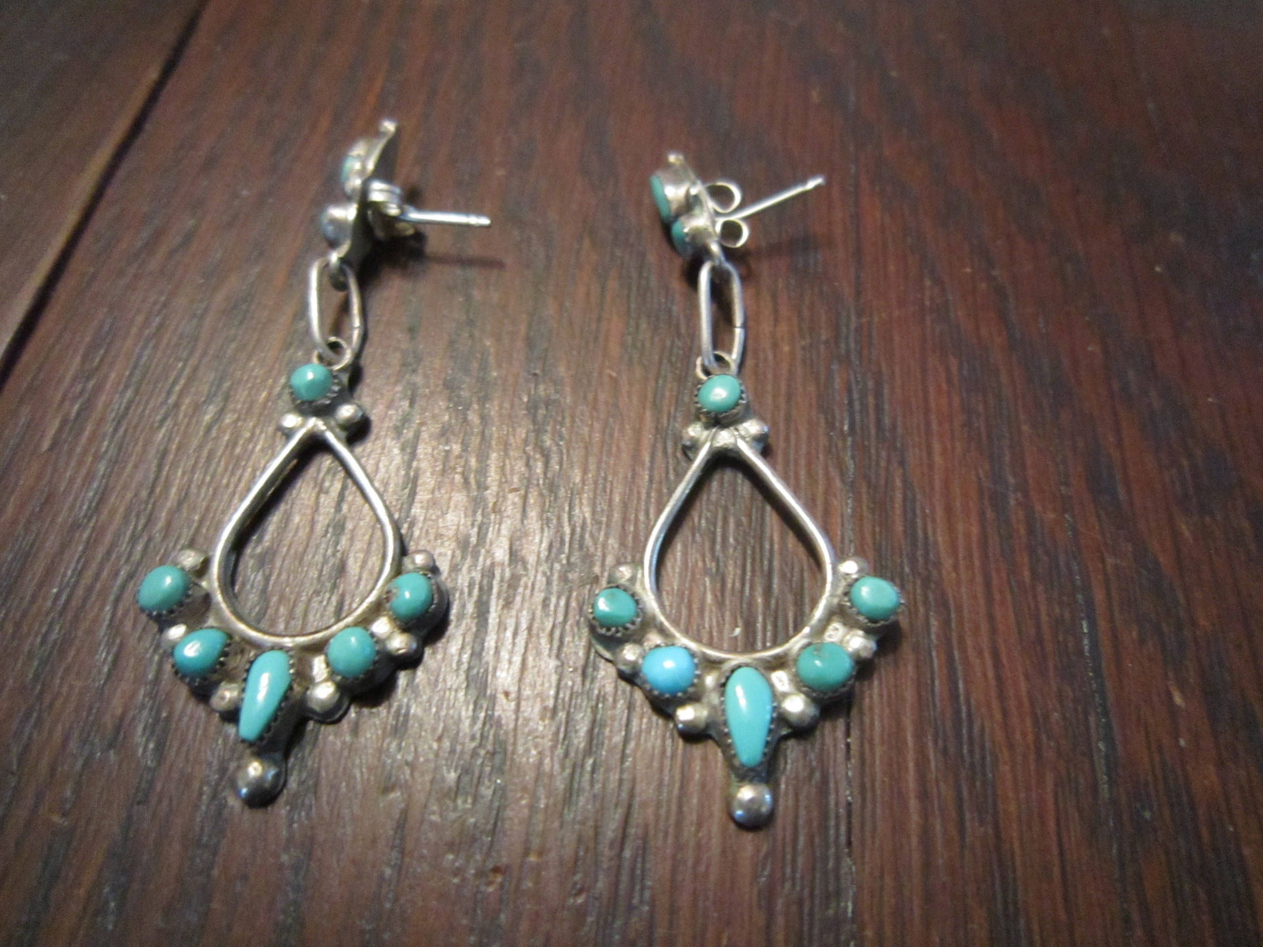 Zuni Turquoise Sterling Drop Earrings By Heartofthesouthwest On Etsy