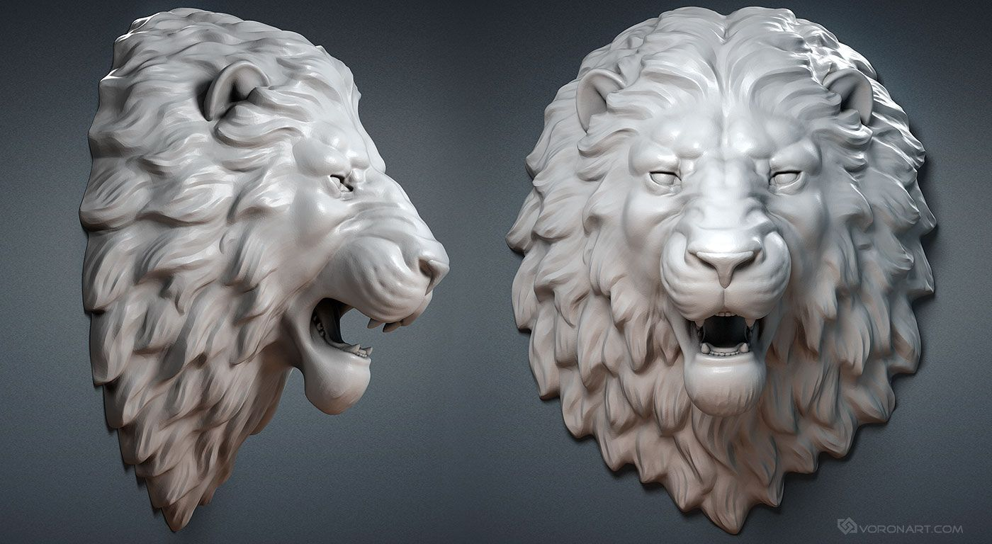 Lion Head Digital Sculpture Model Wall Mount Jewelry Base Mesh