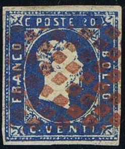 """Sardinia 1851, 20 Cent. azzurro chiaro, annullato con bollo """"muto a rombi"""" in rosso, splendido, cert. Bottacchi (Sass. 2f)    Dealer  Viennafil Auctions    Auction  Minimum Bid:  150.00EUR"""