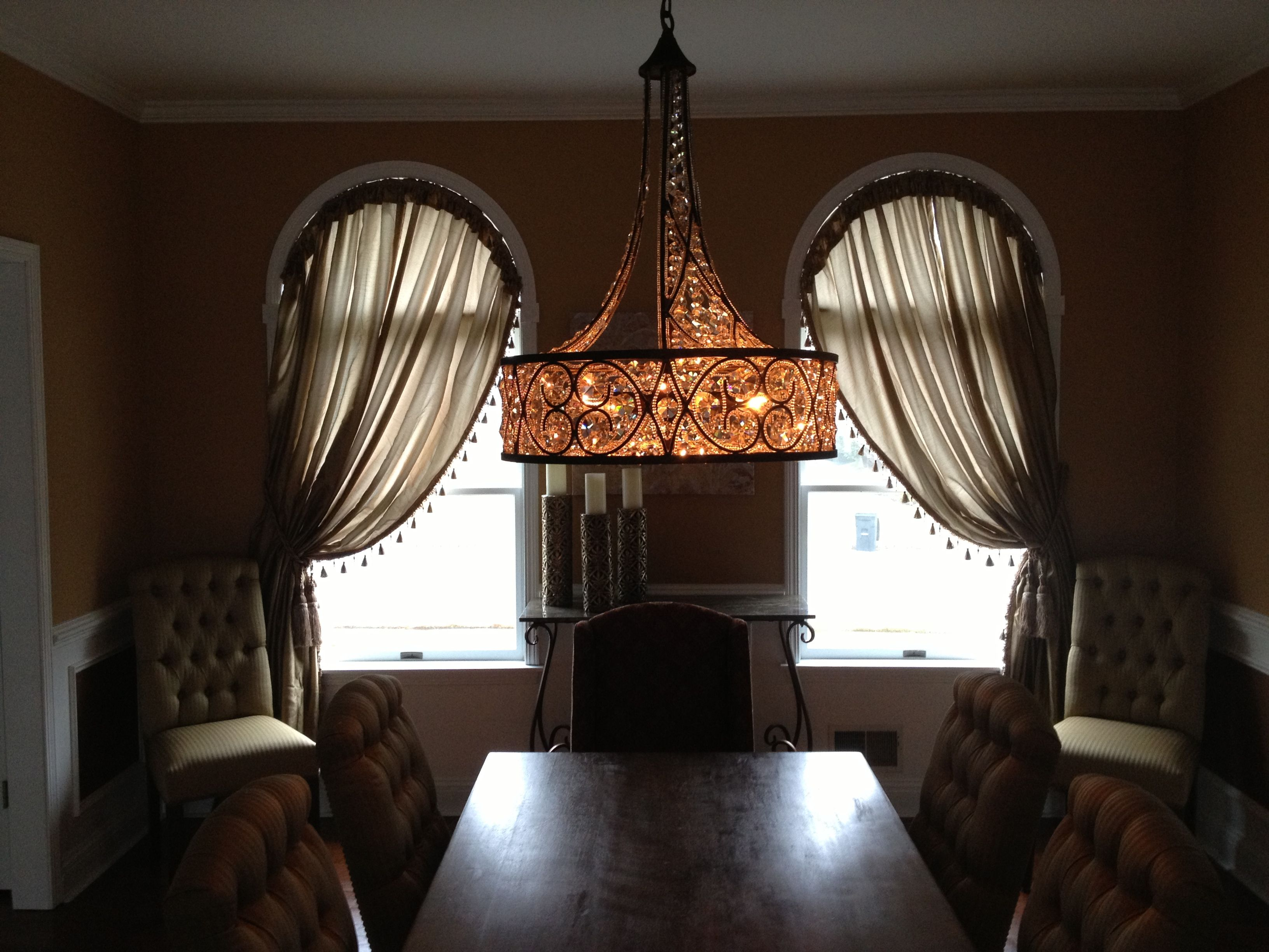 Curved window treatments duplicated expensive treatments for of