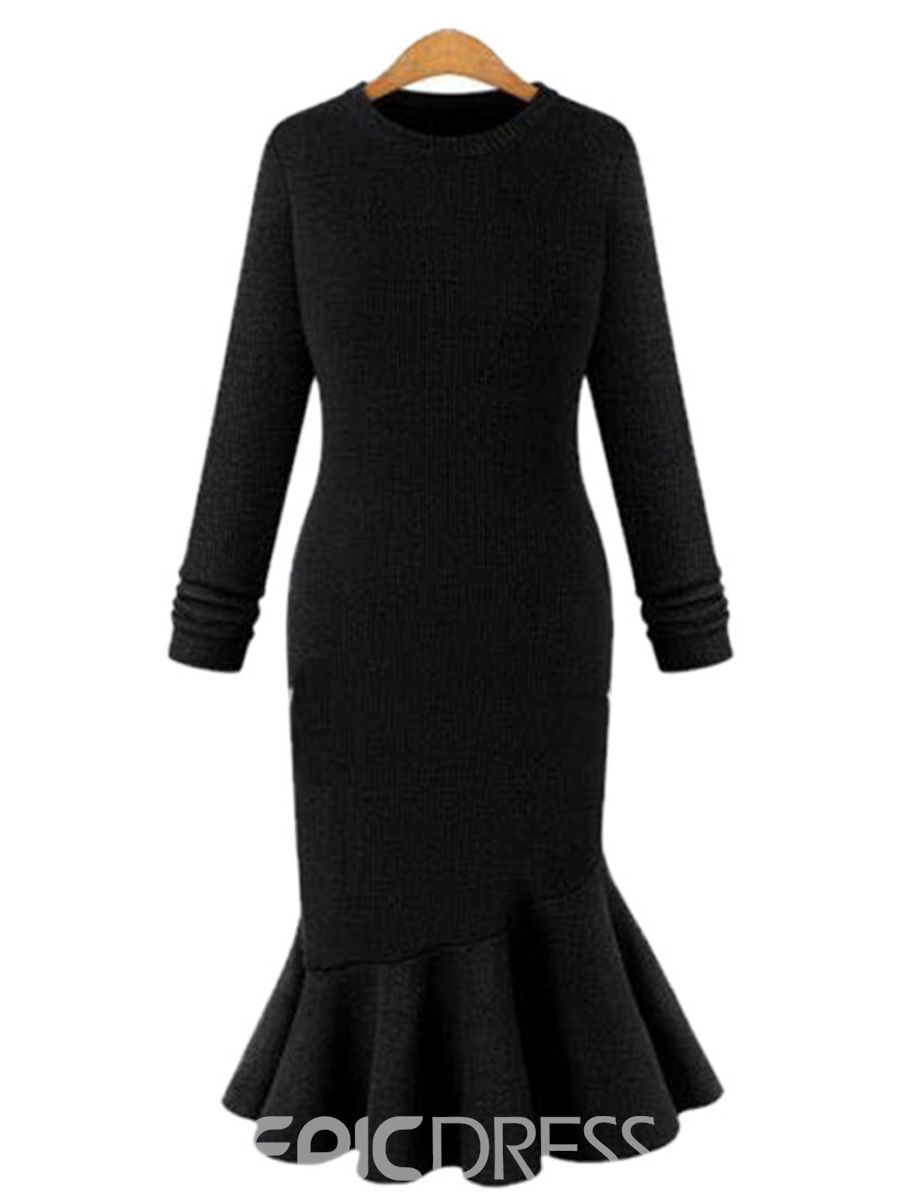 408ebd1a0f Ericdress Scoop Mermaid Plain Winter Sweater Dress