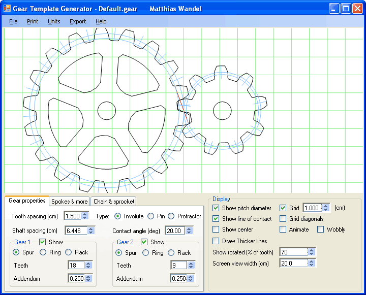 Gear template generator program  Cogs  Gears  Mechanics