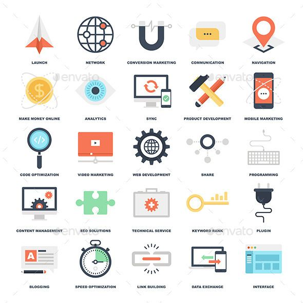 Abstract Vector Set Of Colorful Flat Seo And Development Icons Archive Contains Easy To Edit Eps And Ai Vector Format And High Web Development Seo Social Media Icons