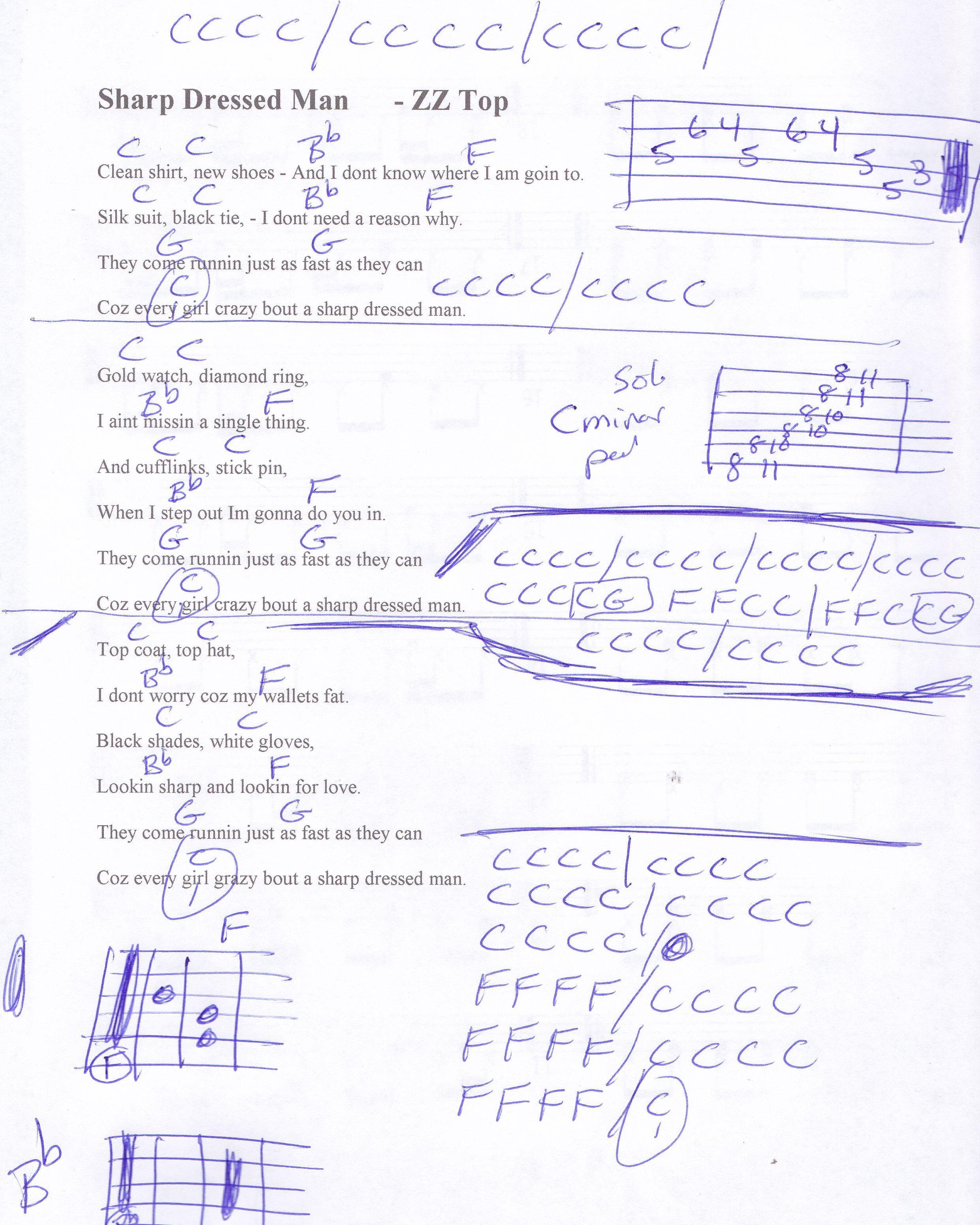 Sharp Dressed Man Zz Top Guitar Chord Chart Guitar Lesson Chord