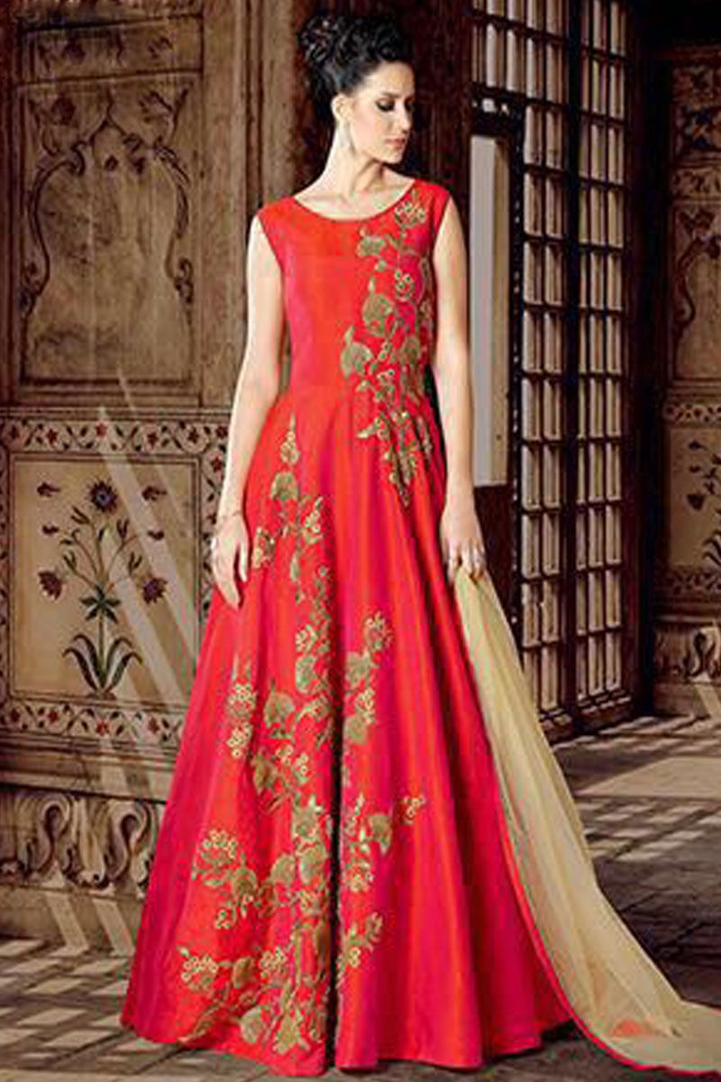 fd4d1ecc0c Beautiful Peach Color Phantom Silk Fabric Embroidered Traditional Bollywood  Designer Party Wear Floor Length Gown Style Suit #anarkalisuit #pinkdress  ...