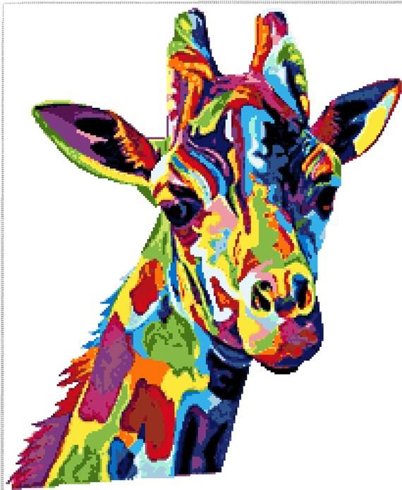 Buy 1 and Get 1 Free Coupon BOGO18! Giraffe Multicolored Fractal Modern Cross Stitch Pattern Counted Cross Stitch Chart Pdf 203248-104
