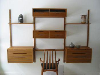 midcentury modern bruksbo wall unit with desk