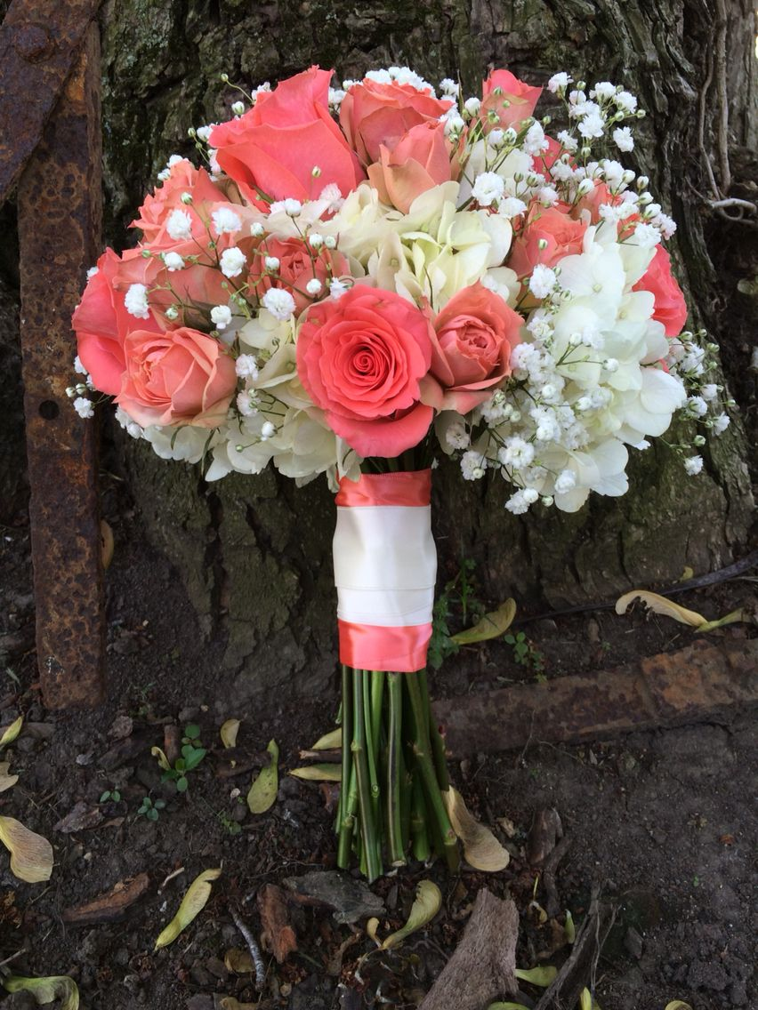 Bridal Bouquet Of Coral Roses Hydrangea And Babies Breath Wedding