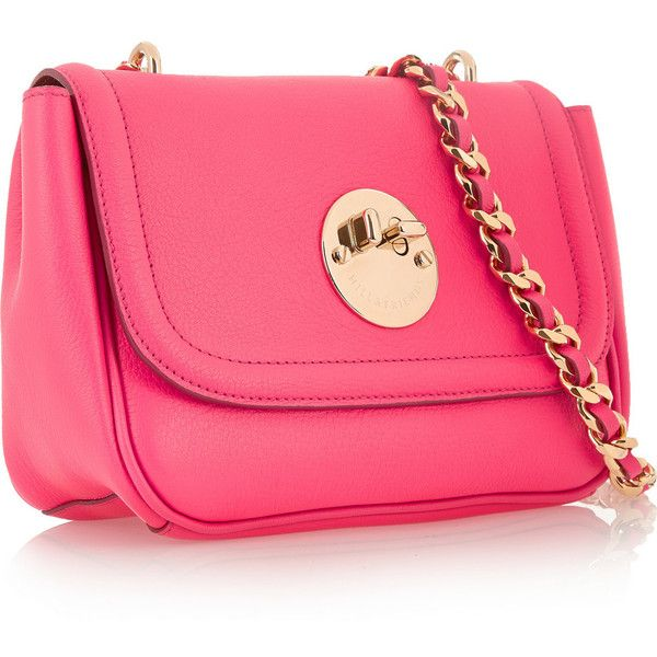 Hill & Friends Happy Chain textured-leather shoulder bag (£795) ❤ liked on Polyvore featuring bags, handbags, shoulder bags, pink shoulder bag, chain strap shoulder bag, chain strap purse, strap purse and shoulder bag handbag