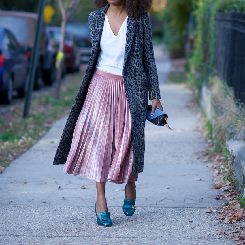 9f4eb76744 pink velvet pleated skirt with Gucci metallic marmont shoes and sonia  rykiel bag