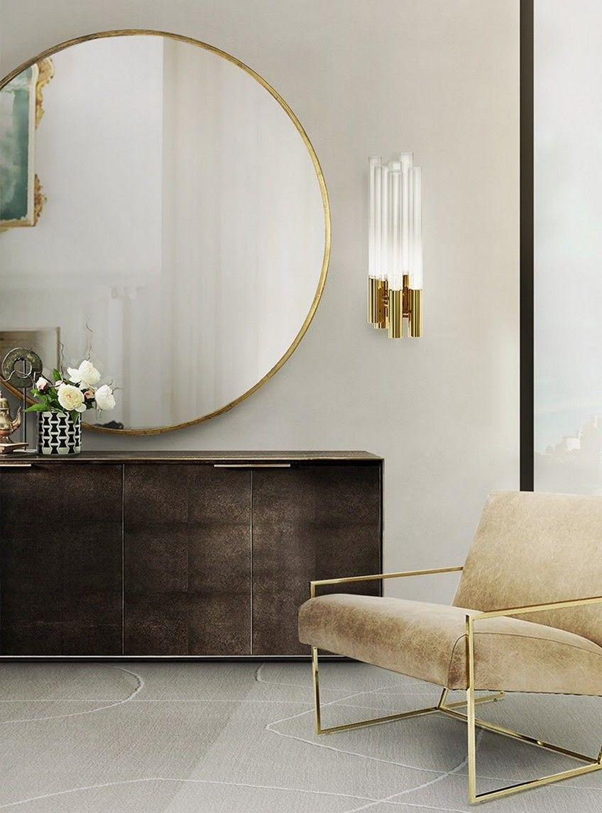 simply perfect combination of masculine and feminine old and new round gold mirror glass old picture in the reflection metal and the sleek but - Bedroom Mirrors