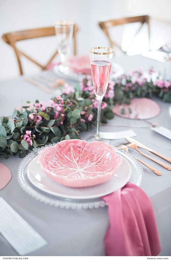 Pink Grey And Gold Wedding Table With Gold Rimmed Champagne