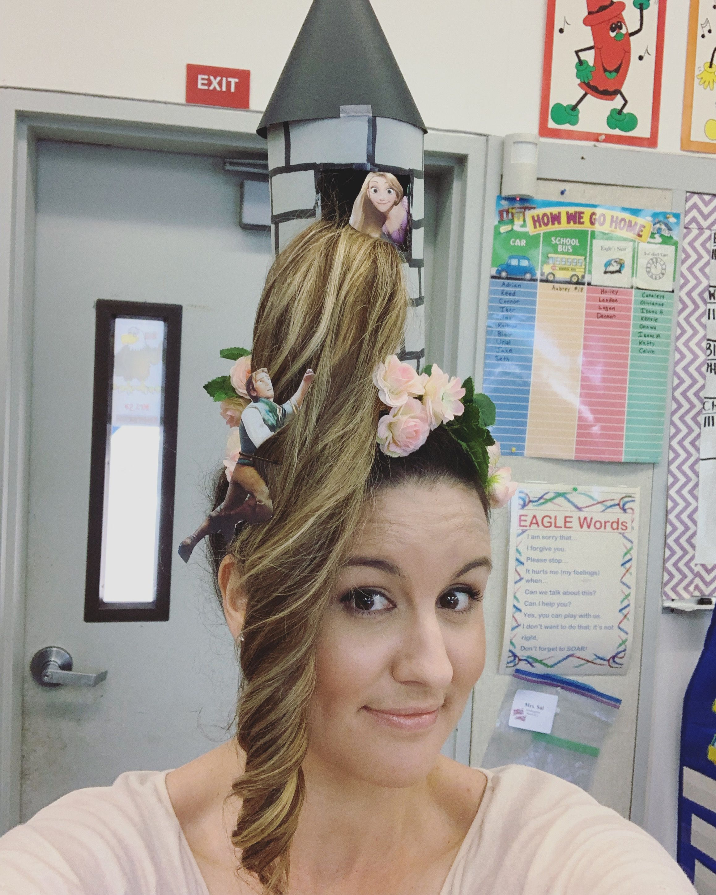 Crazy hair day! #crazyhairday Crazy hair day at school for a teacher. Rapunzel tower with Flynn climbing up. #crazyhairdayatschoolforgirlseasy