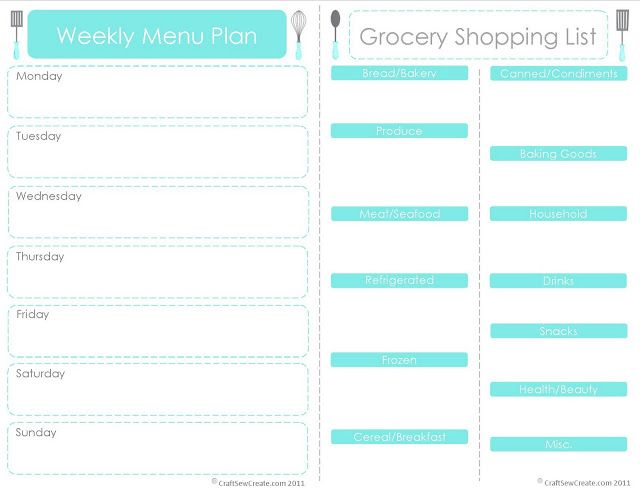 Craft Sew Create Printable Menu Plan + Shopping List Healthy - Printable Weekly Menu Planner With Grocery List