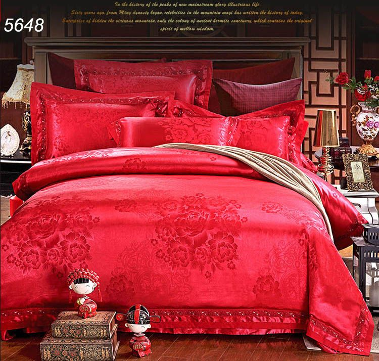 lucky chinese red silk bedding set luxury wedding marry bed sets jacquard floral home textiles quilt