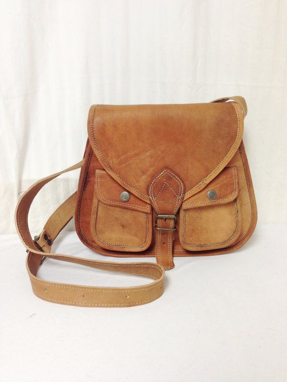 Free Ship Brown Leather Crossbody Saddle Bag By Crazygoodbananas
