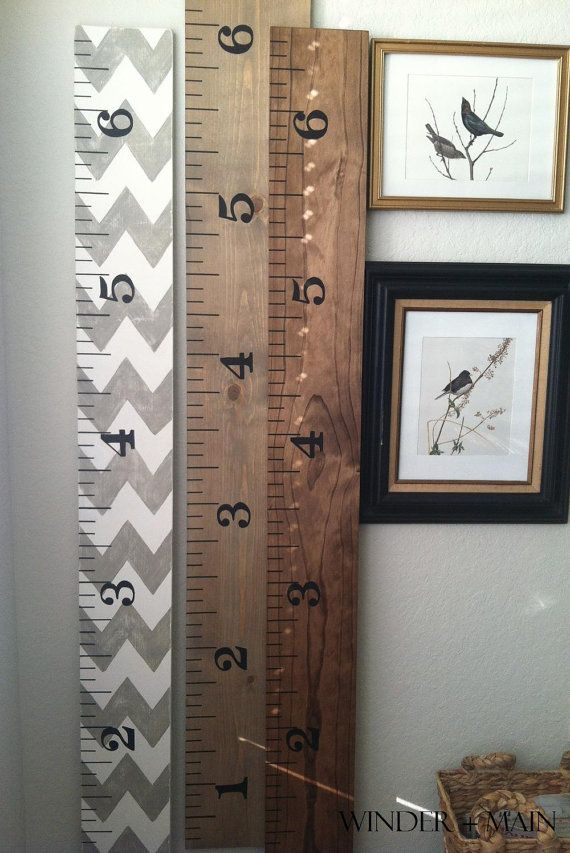 Large Ruler Growth Chart Vintage Stain By Winderandmainshoppe