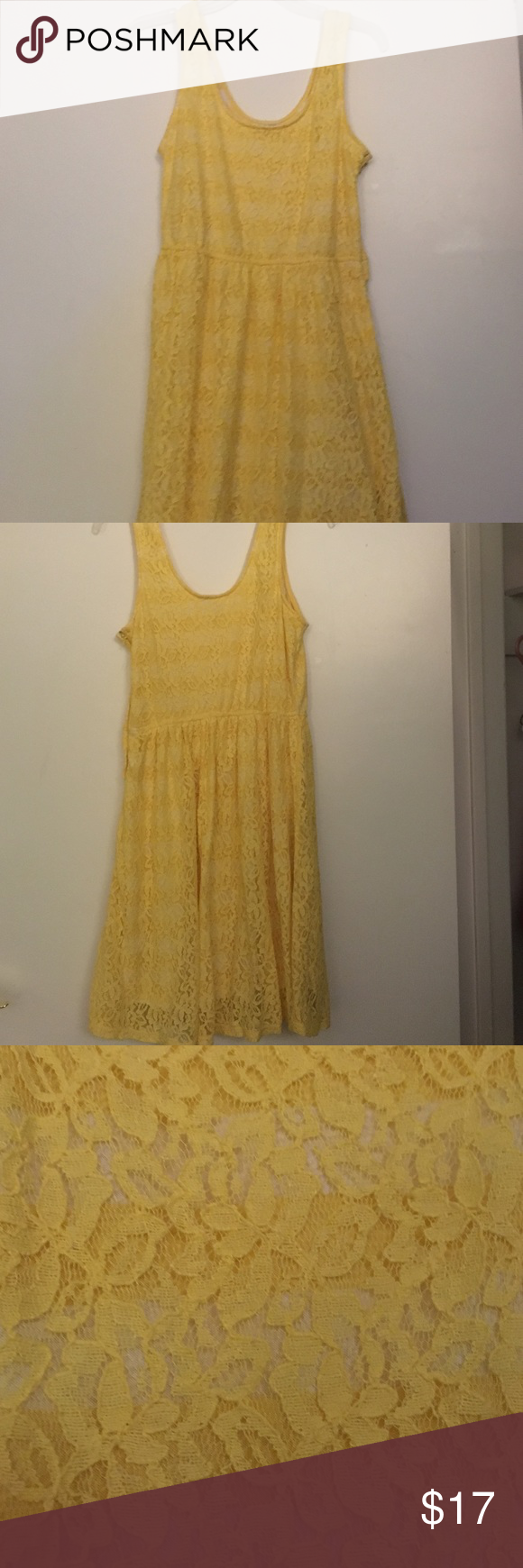Yellow Lace Summer Dress Lace dress with striped underlay and thick straps Mossimo Supply Co Dresses