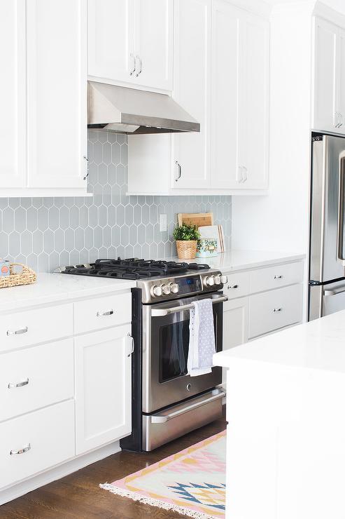 Gray Backsplash with White Shaker Cabinets - Transitional - Kitchen #whiteshakercabinets