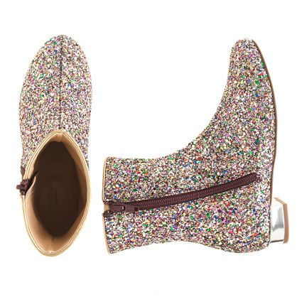 J.Crew - Girls' glitter bootstrap. I want these for myself but ...