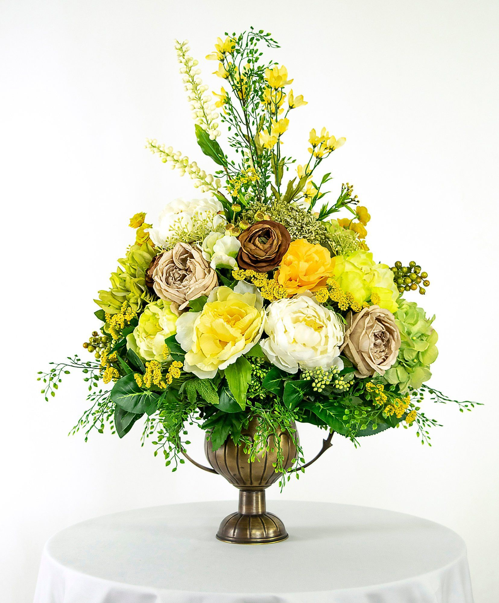 Artificial Flower Arrangement With Yellow Green And Brown Peonies Roses And Hydrangea Silk Floral Home Decor Beautiful Gift Luxury Artificial Flower Arrangements Flower Arrangements Large Flower Arrangements